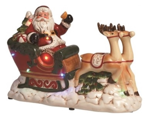 """Decorative Figurine - """"Santa With Sleigh - Lighted and Musical"""""""