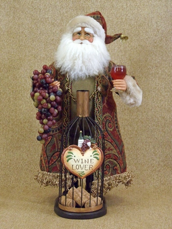 "Decorative Figurine  - ""Santa With Wine Bottle Cork Collector"""