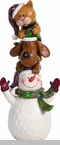 "Decorative Figurine - ""Stacked Cat, Dog And Snowman Figurine"""