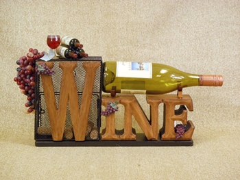 "Decorative Figurine  - ""Wine Cork Cage & Bottle Holder"""