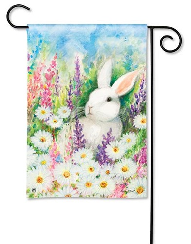 "Decorative Flag - ""White Bunny Garden Flag"""