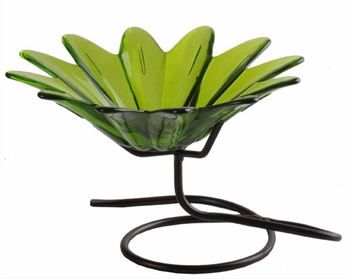 """Decorative Glass Bowl  - """"Daisy Glass Bowl With Stand"""" - Lime"""