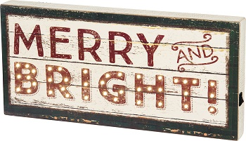 "Decorative Lighted Box Sign - ""Merry And Bright... Box Sign"""