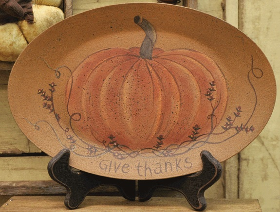 """Decorative Plate - """"Give Thanks Pumpkin Plate"""""""