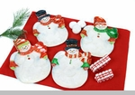 "Decorative Plate  - ""Merry & Bright Capiz Snowman Plate"""