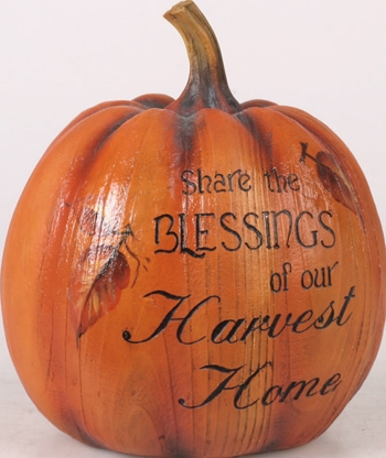 """Decorative Pumpkin  - """"Share the Blessings of our Harvest Home Pumpkin Figurine"""""""