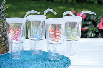 "Decorative Tumbler - ""Flip Flop Tumbler with Straw"""