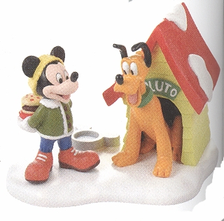 """Department 56 - Mickey's Christmas Village - """"A Special Snack For Pluto"""""""