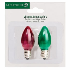 "Department 56 Village Accessory - ""Replacement 3 Volt Red & Green Bulbs"""
