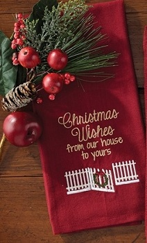 """Dish Towel - """"Christmas Wishes From Our House To Yours Dish Towel"""""""