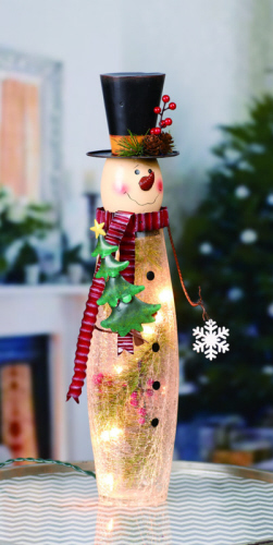 "Electric Light - ""Glass Lighted Snowman"" - 18.75"""