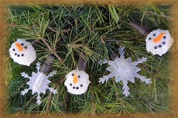 Mini Bulb String Lights - Snowman/Snowflake - Electric/Brown Cord - Standard Grade Indoor/Outdoor - Set of 20