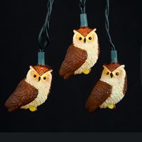 Mini Bulb String Lights - Brown Owl - Electric/Green Cord - Standard Grade Indoor/Outdoor - Set of 10