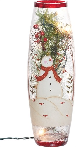 "Electric Light - ""Snowman Lighted Glass Vase"" - 11.75"""