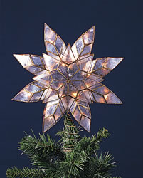 "Electric Tree Topper  - ""Capiz Star Tree Topper"" - 10 lights"