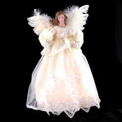 "Electric Tree Topper  - ""Ivory Angel Tree Topper"" - 14.5"""