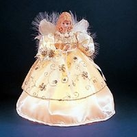 "Electric Tree Topper  - ""Ivory & Gold Angel Electric Tree Topper""  - 9"""