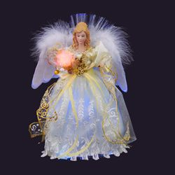 "Electric Tree Topper - ""Ivory LED Fiber Optic Angel Tree Topper"" - 12"""