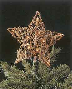 "Electric Tree Topper  - ""Natural Rattan 10-Light Star Tree Topper"""