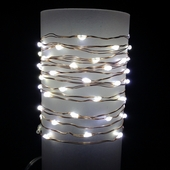 Everlasting Glow® Wire String Lights - Warm White LED - Battery/Copper Wire - Commercial Grade Indoor/Outdoor - Set of 60