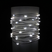 Everlasting Glow® Wire String Lights - Warm White LED - Battery/Green Wire - Commercial Grade Indoor/Outdoor - Set of 60