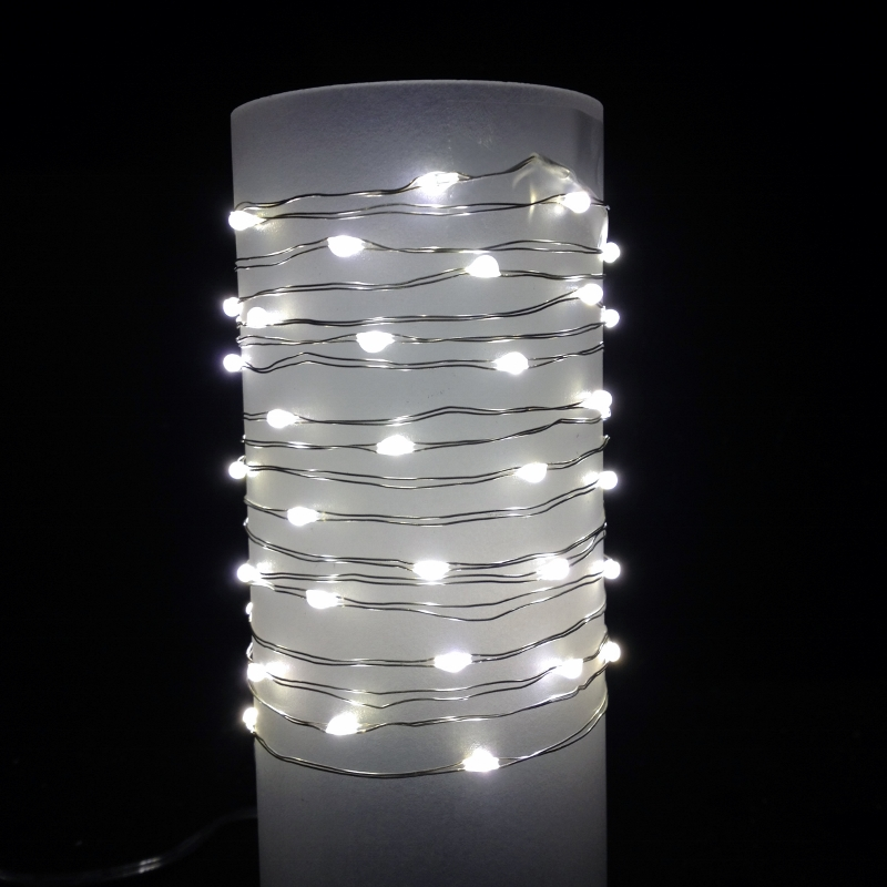 Everlasting Glow® Wire String Lights - Warm White LED - Battery/Silver Wire - Commercial Grade Indoor/Outdoor - Set of 60