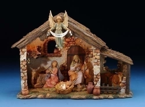 "Fontanini Nativity - ""Fontanini Medium Stable"" - Lighted"