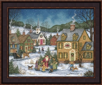 "Framed Picture  - ""An Early Visit from St. Nick"" -  Artist Bonnie White"