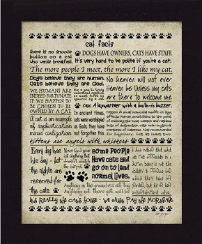 "Framed Picture - ""Cat Facts"" - Artist Deb Grogan"