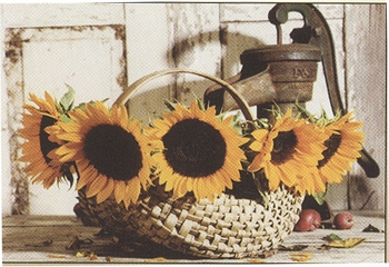 "Framed Print - ""Sunflowers in a Basket Framed Print"" -  7"" x 11"" -  Table Top Frame"