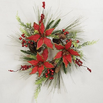 "Artificial Wreath - ""Holiday Poinsettia Wreath"" - 16"""