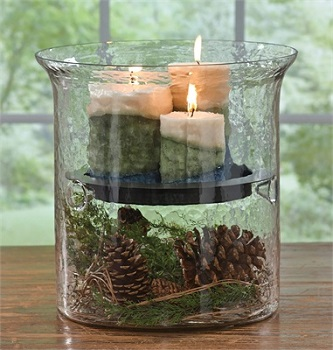 "Glass Candle Cylinder - ""Hammered Glass Cylinders with Metal Pan"""