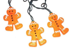 Mini Bulb String Lights - Gingerbread Man - Electric/Green Cord - Standard Grade Indoor/Outdoor - Set of 10