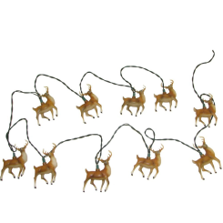 Mini Bulb String Lights - Reindeer - Electric/Green Cord - Standard Grade Indoor/Outdoor - Set of 10