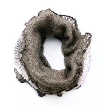 """Infinity Scarf - """"Infinity Scarf Two Tone"""" - Taupe / Ivory"""