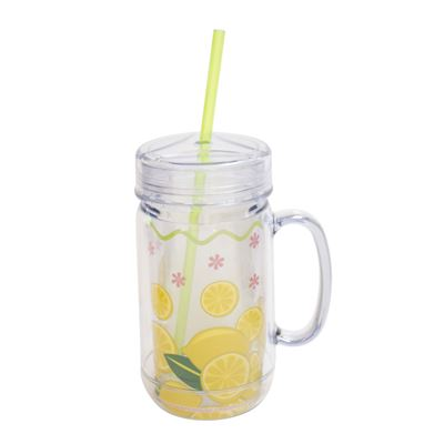 "Insulated Cup - ""Insulated Mason Jar"" - Lemons"