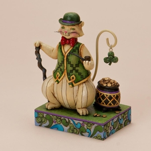 "Jim Shore Figurine - ""Irish Cat With A Pot Of Gold"""