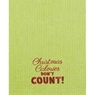 """Kitchen Towel - """"Christmas Calories Embroidered Kitchen Towel"""""""
