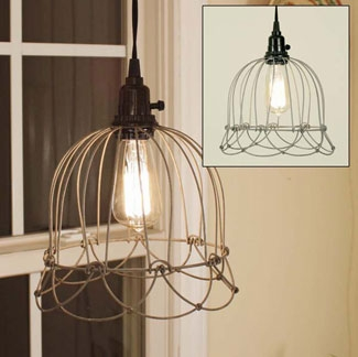 """Lamp - """"Small Wire Bell Pendant Lamp"""" - Brown"""