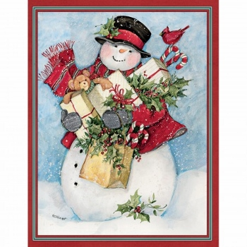 "Lang Boxed Assorted Christmas Cards - ""Candy Cane Snowman & Santa"" - Artist Susan Winget"