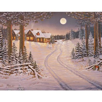 """Lang Boxed Assorted Christmas Cards - """"Meadowlands Cabin"""" - Artist Sam Timm"""