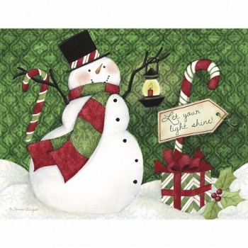 """Lang Boxed Christmas Cards - """"Candy Cane Snowman"""" - Artist Susan Winget"""