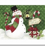 "Lang Boxed Christmas Cards - ""Candy Cane Snowman"" - Artist Susan Winget"