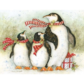 """Lang Boxed Christmas Cards - """"Christmas Day Penguins"""" - Artist Susan Winget"""