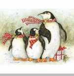 "Lang Boxed Christmas Cards - ""Christmas Day Penguins"" - Artist Susan Winget"