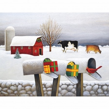 "Lang Boxed Christmas Cards - ""Christmas Surprises"" - Artist Lowell Herrero"