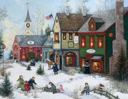 "Lang Boxed Christmas Cards - ""Cobblestone Holidays"" - Artist Linda Nelson Stocks"