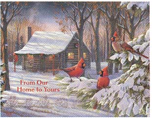 """Lang Boxed Christmas Cards - """"Cozy Winter Cabin"""" - Artist Sam Timm"""
