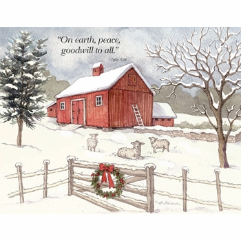 """Lang Boxed Christmas Cards - """"Falling Snow"""" -  Artist Betty Whiteaker"""