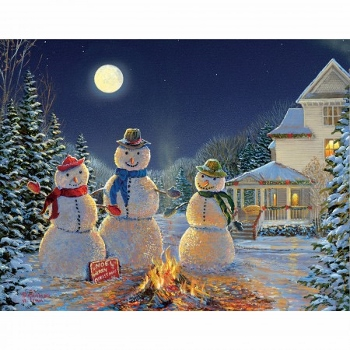 "Lang Boxed Christmas Cards - ""Moonlit Snowmen"" - Artist  Sam Timm"